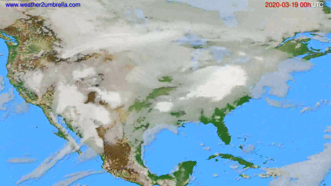 Cloud forecast USA & Canada // modelrun: 00h UTC 2020-03-18