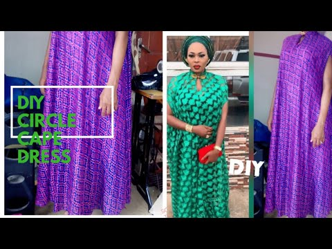 How To Make A CIRCLE CAPE DRESS /UMBRELLA CAPE DRESS (DIY) Full Tutorial