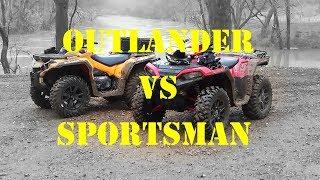8. 2019 Outlander 1000 VS Sportsman XP1000   Drag Race   Trail Ride Comparison!