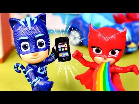 Pocoyo -  PJ MASKS  Playing with PJ Masks and Snapchat Filters  Videos for Kids
