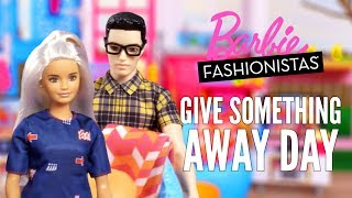 "Barbie knows National ""Give Something Away Day"" is a great time to reassess your stuff and share the bounty. How DO we end up with so much stuff? Barbie doll isn't sure, but when she goes to take her puppy for a walk, she bumps her way to a surprising discovery -- somehow, she has acquired two of a lot of stuff and the extras need to be given away! She's going to need some help. Barbie and Ken gather all the duplicates together to see what can go. Someone may or may not shed a few tears over a flat-screen TV. Next, her friends help with the donation, picking up items they need. Who gets the flat-screen? Check out this stop-motion video to find out. What will you give away? #GiveSomethingAwayDay The dolls and play set included in this video are:FBR37 Fashionistas AsstDWK44 Ken AsstDLY32 3-Story TownhouseWatch more videos about your favorite Barbie products: http://po.st/BarbieImaginePlaySUBSCRIBE: http://bit.ly/BarbieSubAbout Barbie:For over 57 years, Barbie has led girls on a path to self-discovery and helped them to imagine the possibilities. After over 180 inspirational careers, Barbie—along with her friends and family—continues to inspire and encourage the next generation of girls that they can be anything. Connect with Barbie Online:Visit the official Barbie WEBSITE: http://bit.ly/BarbieWebsiteLike Barbie on FACEBOOK: http://po.st/Barbie_FBFollow Barbie on TWITTER: http://po.st/Barbie_TwitterFollow Barbie on INSTAGRAM: http://po.st/Barbie_InstagramBarbie Celebrates ""Give Something Away"" Day  Barbiehttps://www.youtube.com/user/barbie"