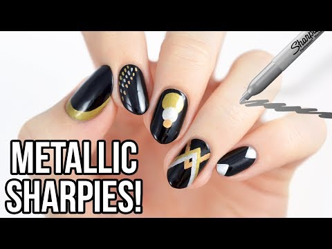 Nail designs - 5 Metallic Nail Art Designs Using SHARPIES!