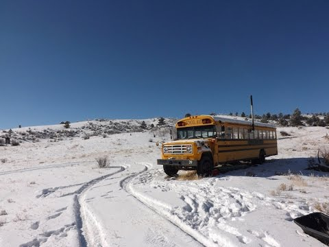 Converted School Bus In The Colorado Wilderness