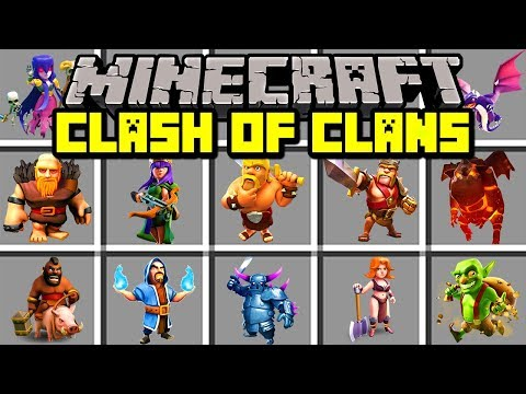 Minecraft CLASH OF CLANS MOD! | BUILD ARMY OF BARBARIANS, DRAGONS, & MORE! | Modded Mini-Game (видео)