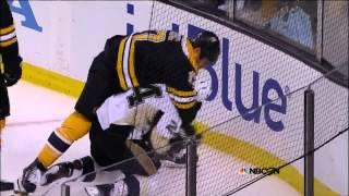 Scrum in OT. Malkin, Chara, Lucic, Cooke. 6/5/13 Pittsburgh Penguins vs Boston Bruins NHL Hockey