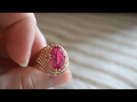 Women's jewellery gold ring 585 with pink garnet