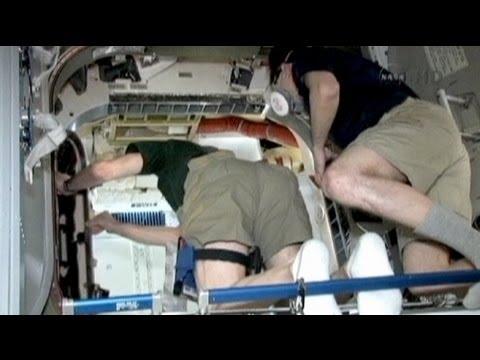 رائدا فضاء بالمحطة الدولية يدخلان الكبسولة دراجون - فيديو