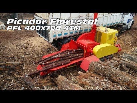 Picador Florestal de Madeira PFL 400 x 700 M-S triturando toras de eucalipto e pinus