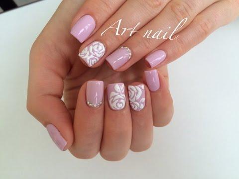 Дизайн ногтей розочки