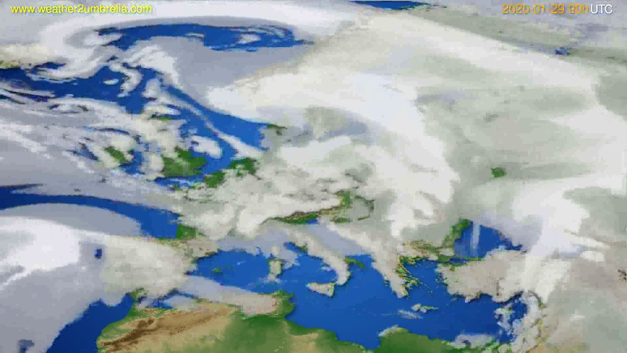 Cloud forecast Europe // modelrun: 00h UTC 2020-01-28