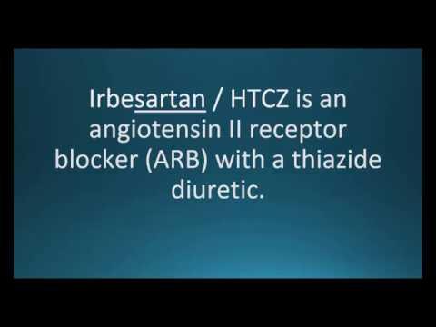 How to pronounce irbesartan / hydrochlorothiazide (Avalide) (Memorizing Pharmacology Flashcard)