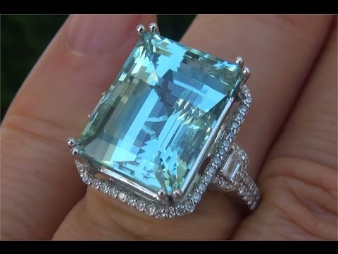 $22,000 GIA Certified FLAWLESS Natural Aquamarine Diamond 14k White Gold Estate Ring - C528