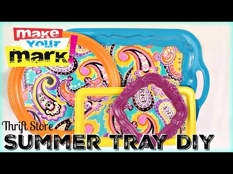 Thrift Store Summer Tray DIY With Craft Glaze Coat