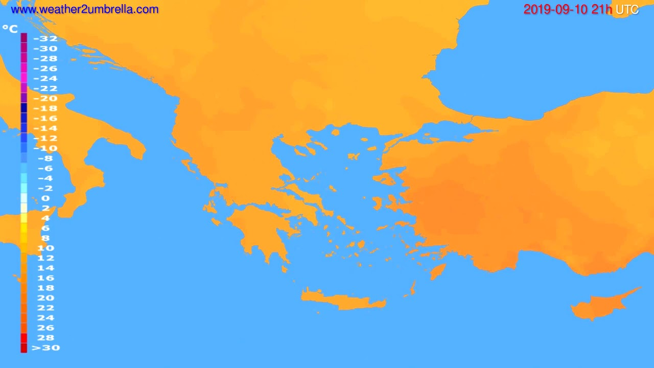 Temperature forecast Greece // modelrun: 00h UTC 2019-09-09