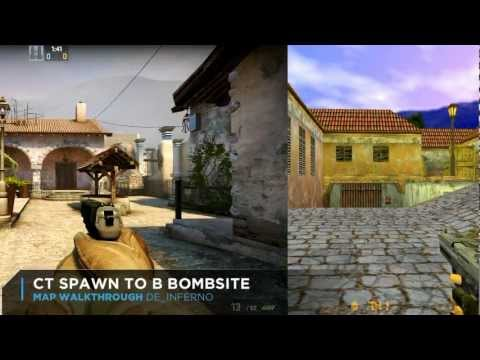 CS:GO vs CS 1.6 Map Comparison: de_inferno Graphics, Layout, Texture Differences (SPLITSCREEN)