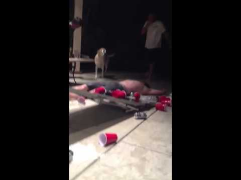 Epic beerpong slam dunk fail