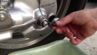 7. Changing the final drive or rear differential oil on a Honda Shadow VT1100.  By How-to Bob