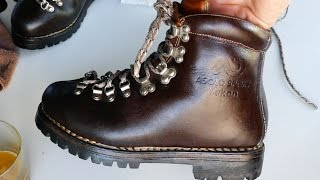 I service a pair of Asolo Sport Heavy Duty Leather Hiking Boots that were made in Italy. They are all leather and I clean them with ...