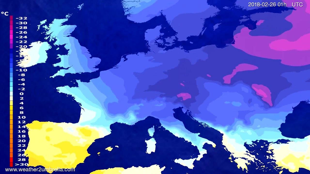 Temperature forecast Europe 2018-02-23
