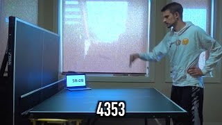 """I was bored and decided to challenge the world record for """"Most Consecutive Rally Hits On One Side Of A Table Tennis Table""""Total count: 4,353Previous record: 2,694"""