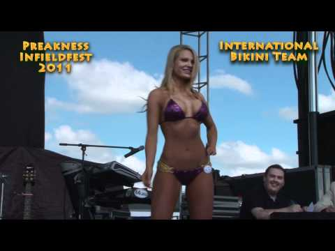 contest - Models from the International Bikini Team compete in a bikini contest at the 2011 Preakness Triple Crown horse race as part of the Infieldfest. The winner re...