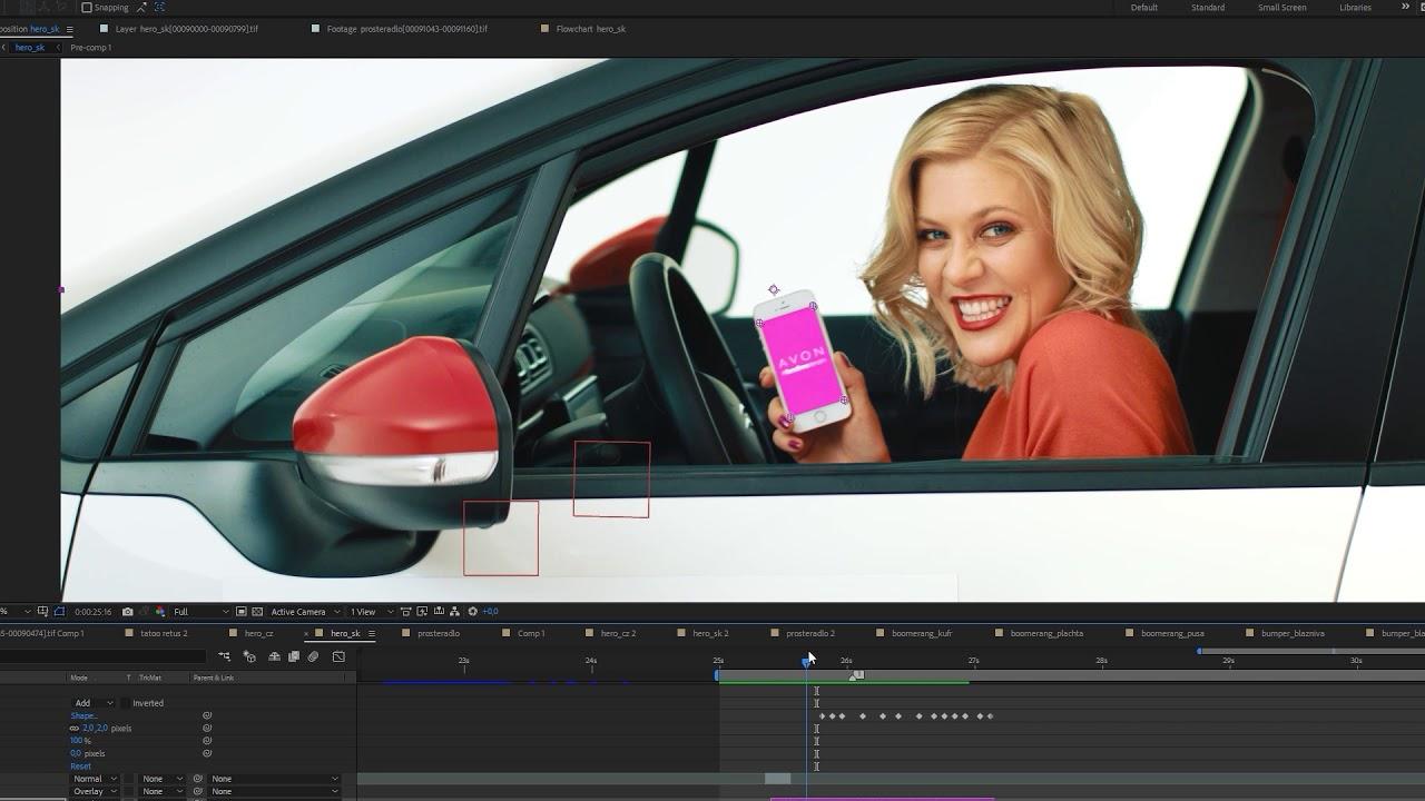 Filmové efekty - klíčování na zeleném plátně, retuše, animace loga atd.