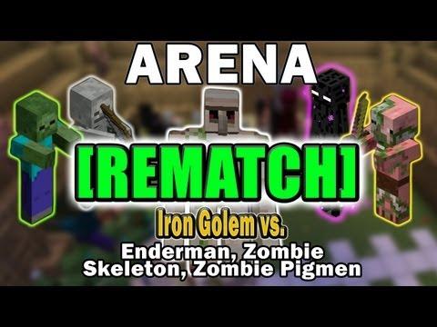 Minecraft Arena Battle [REMATCH] Iron Golem vs. Enderman, Zombie, Skeleton, Zombie Pigmen