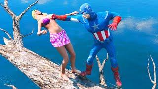 GTA 5 CRAZY Jumps/Falls Water Ragdolls Captain America #6 (Euphoria Physics)