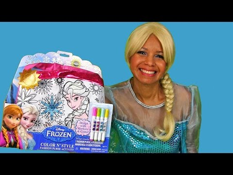 Disney Frozen Color And Style Fashion Purse with Queen Elsa !  || Disney Toy Reviews || Konas2002