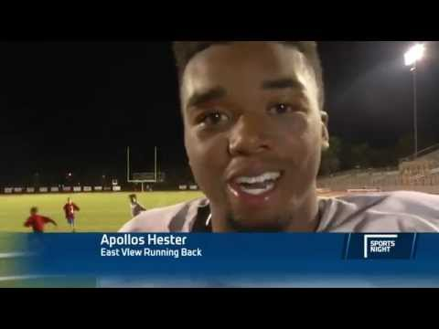 here - TWC News Austin full video: http://bit.ly/1DsV4r2) TWC News Austin reporter Lauren Mickler interviews East View High School Football player Apollos Hester after the triumphed over Vandegrift...