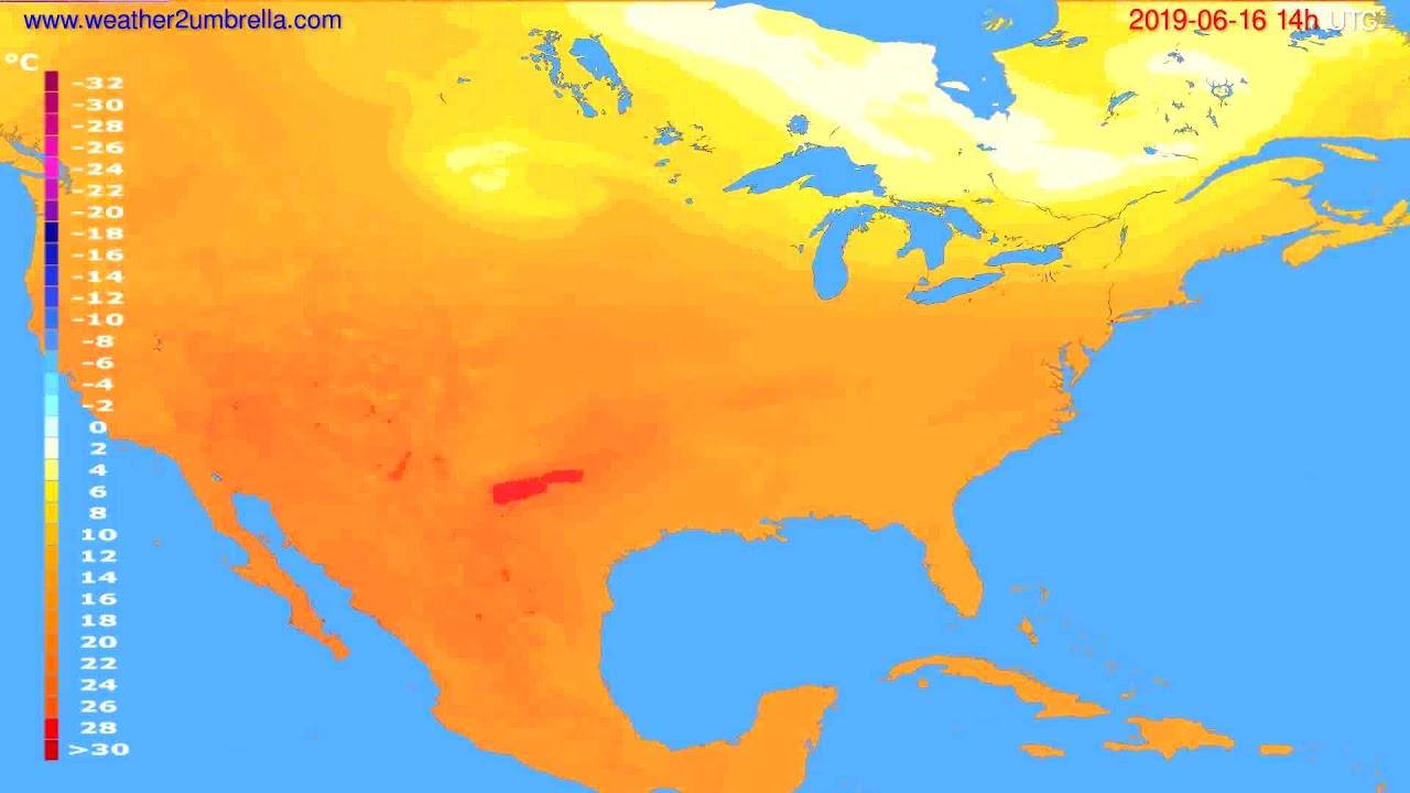 Temperature forecast USA & Canada // modelrun: 12h UTC 2019-06-13