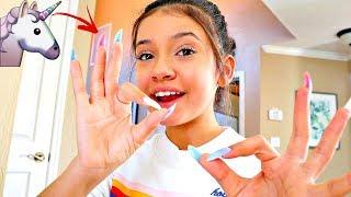 Video Wearing SUPER LONG ACRYLIC Unicorn Nails for 24 HOURS!!🦄💅part 1 MP3, 3GP, MP4, WEBM, AVI, FLV Februari 2019