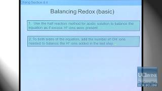 Preparation For General Chemistry 1P. Lecture 23. Redox In Basic Solutions.