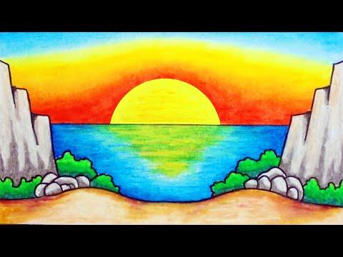 Cara Menggambar Pemandangan Alam yang Mudah | Gambar Matahari Terbenam di Laut