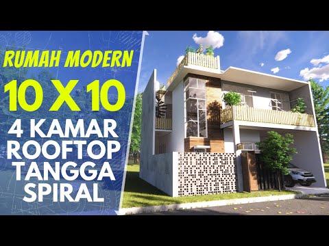 Desain Rumah 10x10 dengan Rooftop Garden