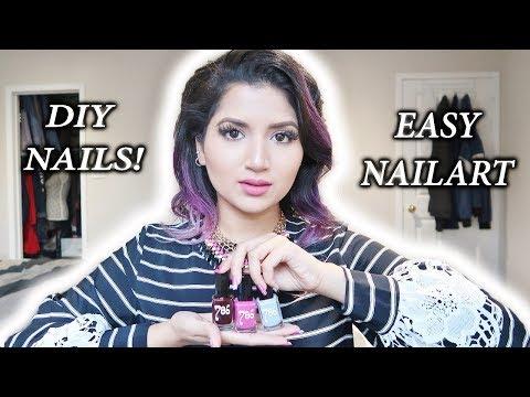 EASY NAIL ART using TAPE & HALAL NAIL POLISH