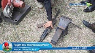 Senjata Aksi Kriminal Dimusnahkan di Pidie