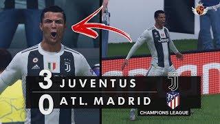 JUVENTUS 3 x 0 ATLÉTICO DE MADRID NO FIFA 19 - CHAMPIONS LEAGUE | HAT-TRICK DO CR7