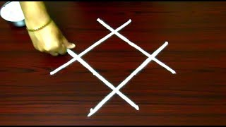 Download Lagu Simple and easy rangoli designs with dots || 4 dots kolam designs || chukkala muggulu designs Mp3