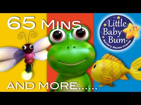 Five Little Speckled Frogs | Part 2 | Plus More Nursery Rhymes | 65 Mins from LittleBabyBum (видео)