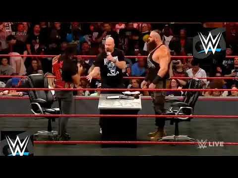 (en español) Stone Cold En La Firma De Contrato Seth Rollins y Braun Strowman