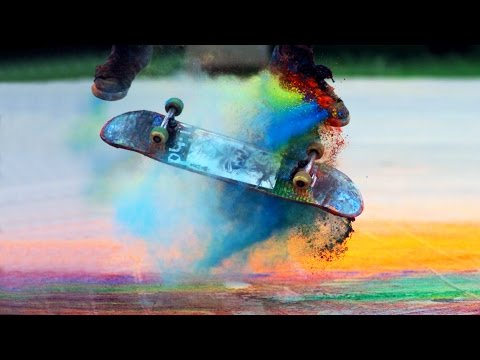 Skateboarding Through Color Powder Is Stunning