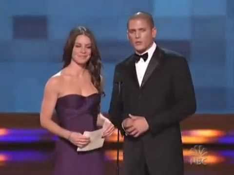 Evangeline Lily - Wentworth at the Emmy Awards with Evangeline Lily presenting an award.