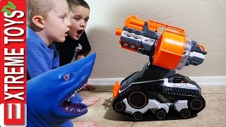 Wild Shark Vs. Nerf TerraScout Drone! Crazy Shark Toy Attacks the Nerf Robot!