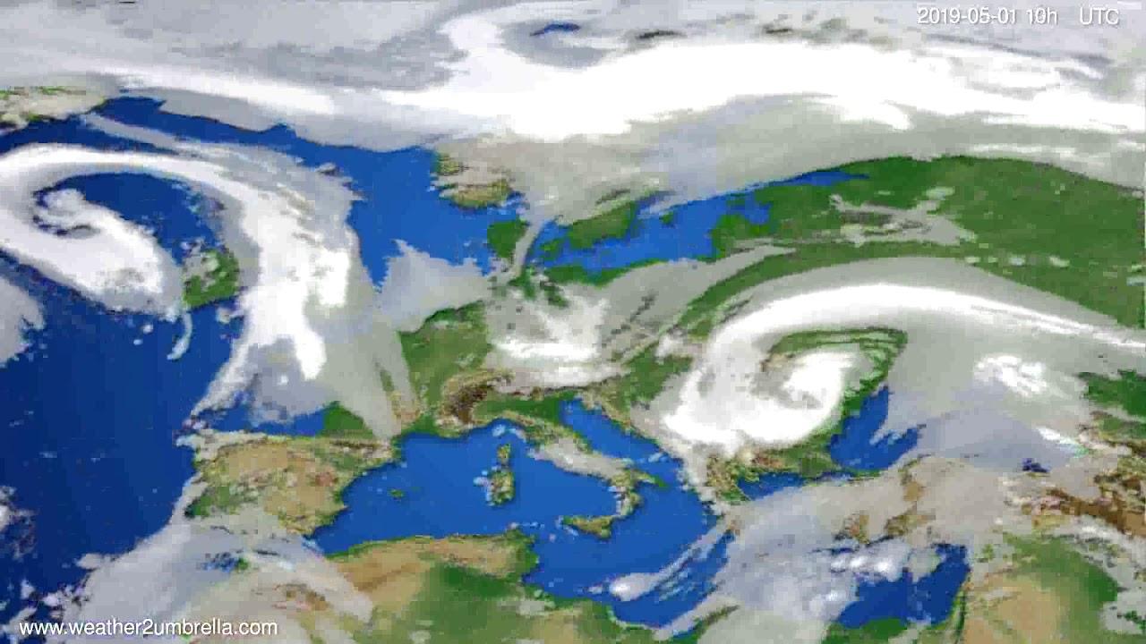 Cloud forecast Europe // modelrun: 00h UTC 2019-04-29