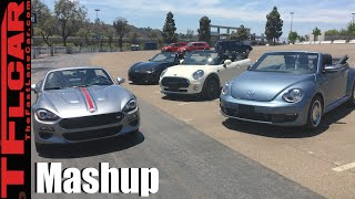 2017 Fiat 124 Spider vs Mazda Miata MX-5 vs MINI Cooper vs VW Beetle Convertible Mashup Review by The Fast Lane Car