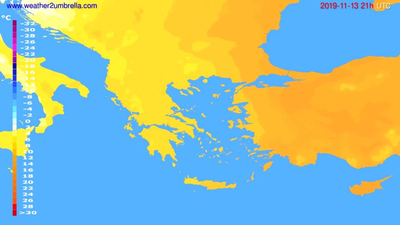 Temperature forecast Greece // modelrun: 12h UTC 2019-11-12