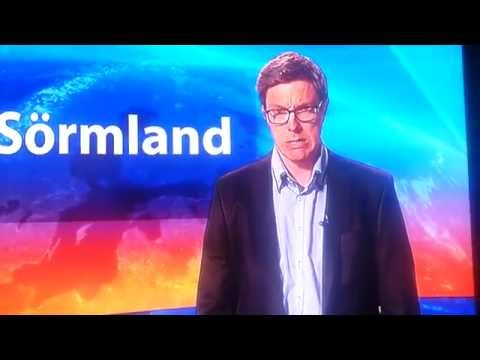 Swedish news anchor does not realize he's on air and starts singing opera and doing sketches for the camera crew.