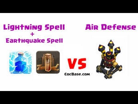 Destroying Air defense with lightning & earthquake spell! Clash of Clans:  This episode will look at what level AD will be destroyed with lvl 5 lightning spells and level 1 earthquake spells.Have a question or a specific strategy you would like to see? Find me on social media!Instagram Handle: Hilalo08http://twitter.com/Hilalo08Like, Comment, Share, and Subscribe to show some support!