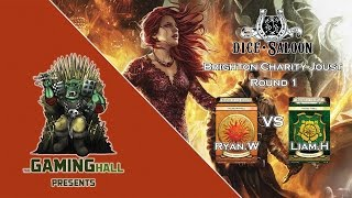 Footage from Round 1 of the 29 Player Brighton Charity joust between Ryan Wood (Martell/Dragon) and Liam Hall (Tyrell/Wolf)...